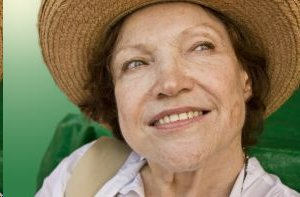 happy woman with hat on