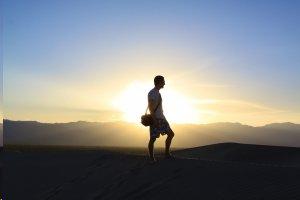 man alone sunset